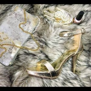 Report Strappy Gold High Heels (NWT)